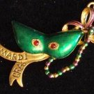 Green Metallic Mask Mardi Gras Bead Necklace Gold Color