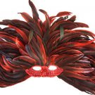 Venetian Mask Mardi Gras Queen Cleopatra Feather Red Sequin New Orleans