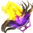 Cat Eye Feather Wand Mask Halloween Prom Costume Party Purple Green Gold