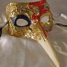 Venetian Mask Casanova Red & Gold Mardi Gras Carnival Costume Italy Party