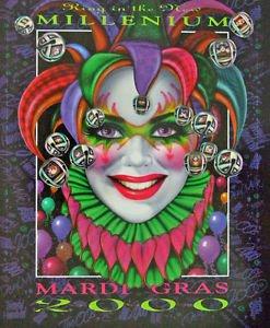 Andrea Mistretta Mardi Gras Art 2000 Millenium Famous  Vintage New Orleans Rare