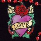 Tattoo Heart Red Rose Mardi Gras Beads New Orleans Party Carnival Party Fun