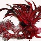 Venetian Elaborate Mask YOUR COLOR CHOICE Fan & Feathers Mardi Gras Halloween