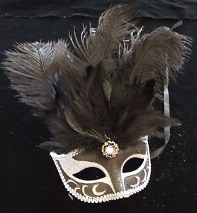 SHOWGIRL OSTRICH Feather Mask Black & Silver Costume