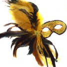Gold Feather Wand Gold Flower Mask Masquerade Ball Mardi Gras Party Lady