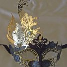 Black Eye Mask with Gold Leaf Venetian Mardi Gras Costume Party New Orleans Prom