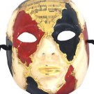 Venetian Full Mask Red Black Gold Musical Score Masquerade Ball Costume Party