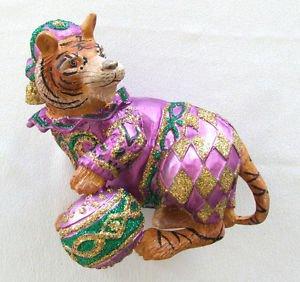 Tiger Purple Green Gold Mardi Gras Hanging Ornament Circus Ball