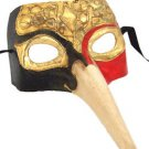 Venetian Mask Zanni Long Nose Black Gold Red Mardi Gras Orleans Costume Party