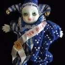 Porcelain Baby Clown Doll Gift New Orleans Blue Stripes