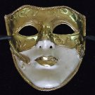 Italian Halloween Art Theatre Mask Gold Ivory MASK Flat