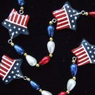 USA Flag Stars Patriot STARS Mardi Gras Bead Necklace New Orleans Beads America
