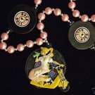 Yellow Scooter Girl Mardi Gras Necklace Beads Fifty 50