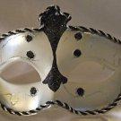 Venetian Eye Mask Samba Black & Silver Prom Mardi Gras Masquerade Costume
