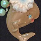Bobble Head WHALE Mardi Gras Beads Moves Animated