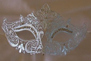White with Crystals Venetian Eye Mask Mardi Gras Prom Halloween Costume Party