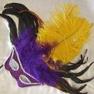 Purple & Gold Wand Mask Ostrich Masquerade Costume Party Mardi Gras Costume Prom