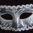 Venetian Eye Mask Black & Silver Glitter Mardi Gras Drama Theatre Masquerade