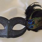 Venetian Eye Mask Black With Black Feathers Mardi Gras Halloween Costume Party