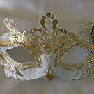 White & Gold Metal Eye Mask Venetian Mardi Gras Costume Party Prom New Orleans