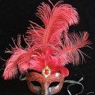 Fantasia Mardi Gras Feather Mask Jewel Ball Masquerade Party Crimson Costume