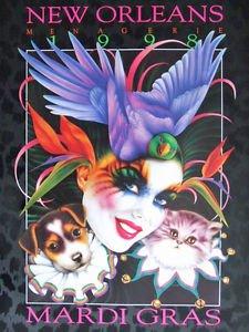 Mistretta 1998 Masks Mardi Gras Art Artist Signed & Numbered #214 New Orleans
