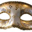 Venetian Eye Mask Gold Musical Score Costume Prom Party Mardi Gras Music