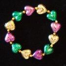 BRACELET PURPLE GREEN GOLD HEART Mardi Gras HEARTS Fun