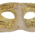 Venetian Eye Mask Ivory Gold with Musical Score Mardi Gras Masquerade Prom Party