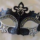 Venetian Eye Mask Black & Silver Scroll Mardi Gras Halloween Prom Costume Party