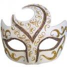 Venetian Eye Mask Swirl Top White with Gold & Bronze Prom Mardi Gras Costume