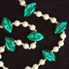 IRISH BIG GREEN METALLIC LIPS Mardi Gras Bead Necklace