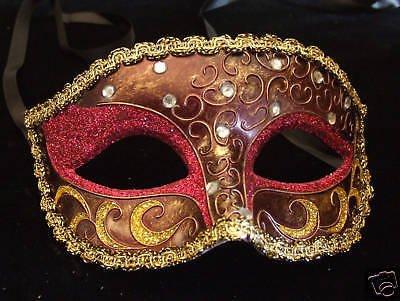CRESCENT Venetian Mardi Gras Mask CHOCOLATE & CRIMSON Mardi Gras Prom Party