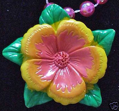 Tropical Flower Luau Mardi Gras Beads New Orleans Party