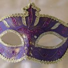 Venetian Eye Mask Dark Purple & Silver Costume Prom Party Mardi Gras New Orleans