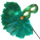 Green Feather Wand Mask Masquerade Ball Decor Mardi Gras Party Mardi Gras Party