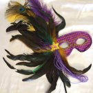 Purple Feather Stick Mask Masquerade Ball Decor Mardi Gras Party Halloween Prom