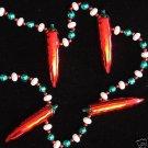 Red Metallic Bright CHILI PEPPERS Mardi Gras Beads