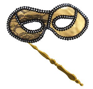 Opera Folding Gold Venetian Mask Mardi Gras Costume Party Masquerade Prom