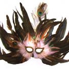 Feather Mask Flame Baby Pink Mardi Gras Masquerade Ball Decor Party Prom