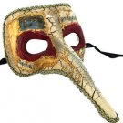 Venetian Mask Zanni Long Nose White with Red Eye Mardi Gras Halloween Orleans