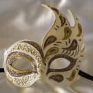 Flame Mask Bronze & Gold Costume Prom Mardi Gras New Orleans Party Masquerade