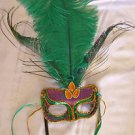 Green Sheba Wand Mask Ostrich Masquerade Costume Party Mardi Gras Costume Prom