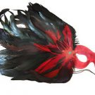 Feather Mask Red Star Mardi Gras Masquerade Ball Decor Party Prom New Orleans