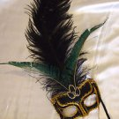 Black Sheba Wand Mask Ostrich Masquerade Costume Party Mardi Gras Costume Prom