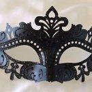 Venetian Eye Mask Black Scroll Mardi Gras Halloween Prom Costume Party