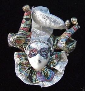 Porcelain Jester Lady Tri Hat Ornament YOUR CHOICE STYLE Mardi Gras Orleans