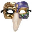 Venetian Mask Pulcinella Nose YOUR CHOICE COLORS Mardi Gras Halloween Parade