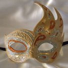 Flame Mask Orange & Silver Costume Prom Mardi Gras New Orleans Party Masquerade