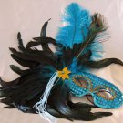 Feather Mask Torquoise Mardi Gras Masquerade Ball Decor Party Prom New Orleans